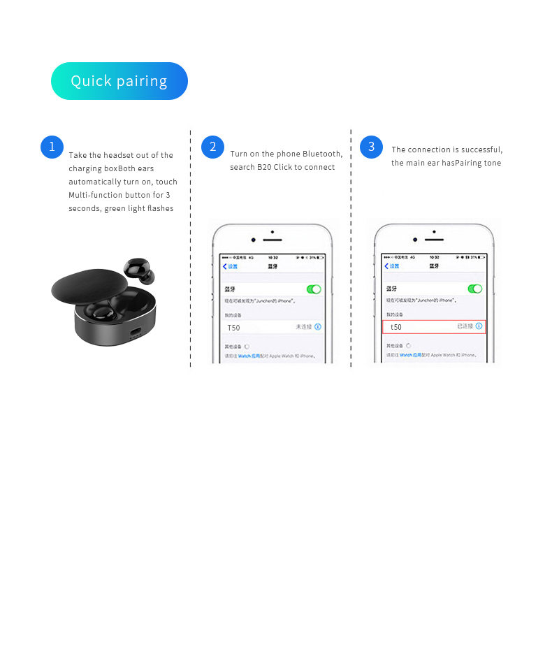 Leabuds wireless Bluetooth TWS earbuds - Quick connection figure